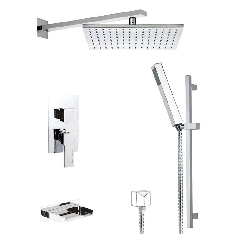 REMER TSR9513 ESTATE SLEEK TUB AND SHOWER FAUCET SET WITH SLIDING RAIL