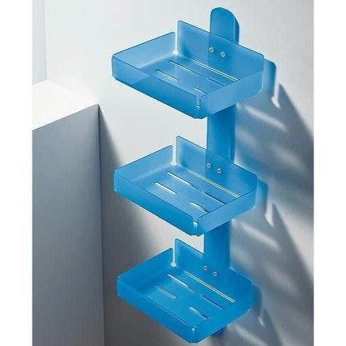 Toscanaluce 1223 Corner Rectangular Plexiglass Triple Tier Shower Soap Holder