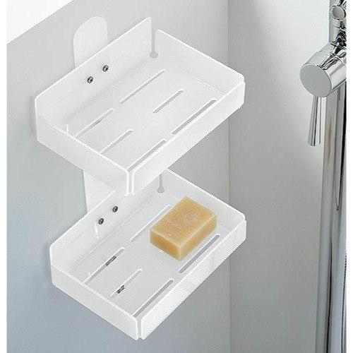 Toscanaluce 1232 Corner Rectangular Plexiglass Double Tier Shower Soap Holder
