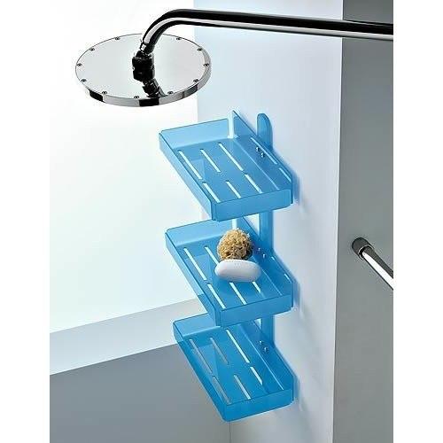 Toscanaluce 1233 Corner Rectangular Plexiglass Triple Tier Shower Soap Holder