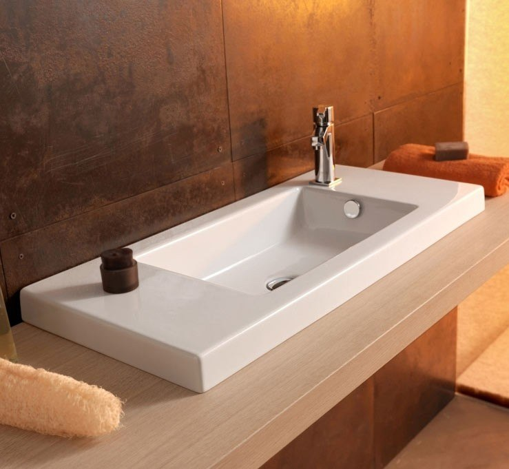 Tecla 3501011 Serie 35 32 x 14 Inch Rectangular White Ceramic Wall Mounted or Built-In Sink