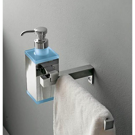 Toscanaluce 4528 Eden Wall Mounted Square Brass Soap Dispenser with Towel Rail