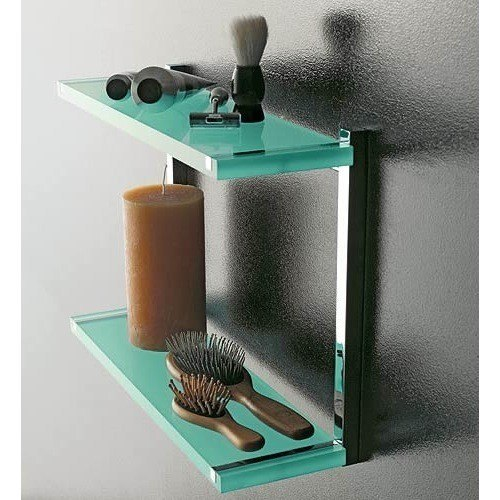 TOSCANALUCE 4542 EDEN 11 X 16 INCH SQUARE PLEXIGLASS DOUBLE BATHROOM SHELF