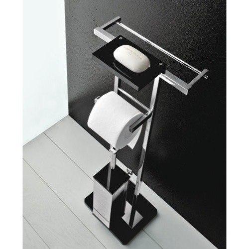 TOSCANALUCE 4575 EDEN FREE STANDING 4-FUNTCION BATHROOM ACCESSORY SET WITH PLEXIGLASS BASE