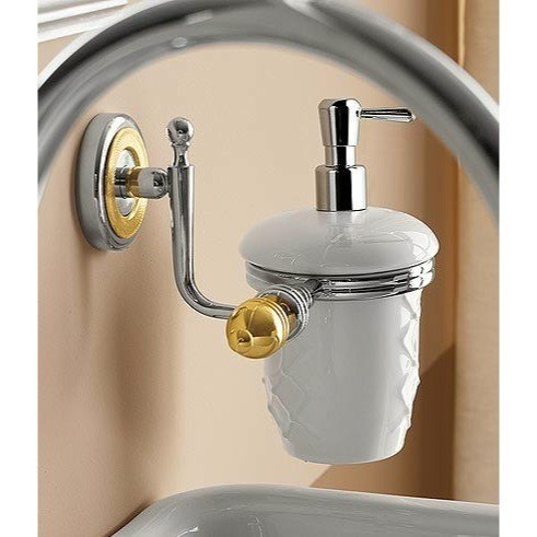 TOSCANALUCE 6523 QUEEN WALL MOUNTED CLASSIC-STYLE ROUND CERAMIC SOAP DISPENSER