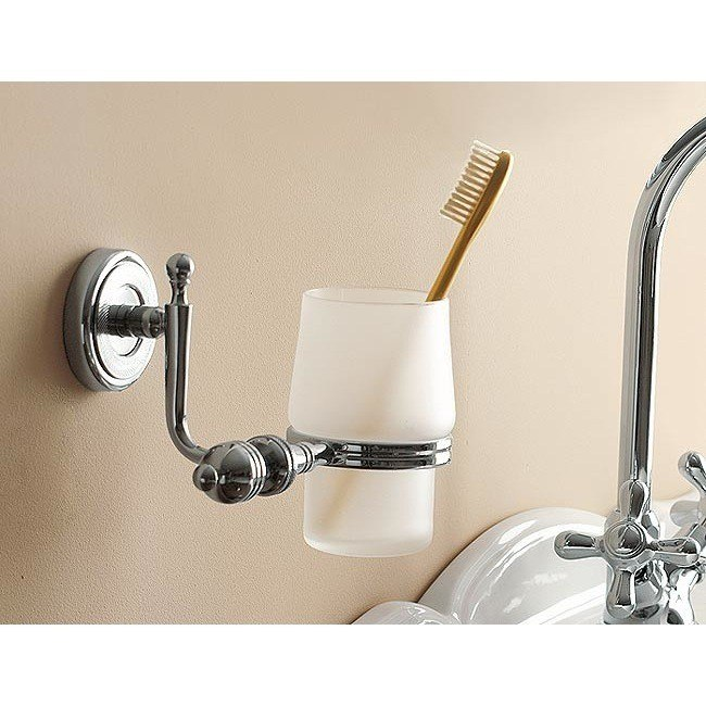 TOSCANALUCE 6502V QUEEN WALL MOUNTED CLASSIC-STYLE ROUND FROSTED GLASS TOOTHBRUSH HOLDER