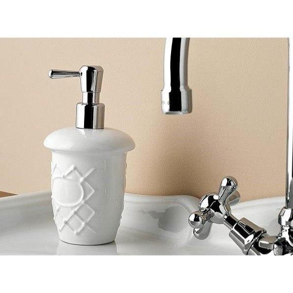 TOSCANALUCE 6653 QUEEN CLASSIC-STYLE ROUND CERAMIC SOAP DISPENSER
