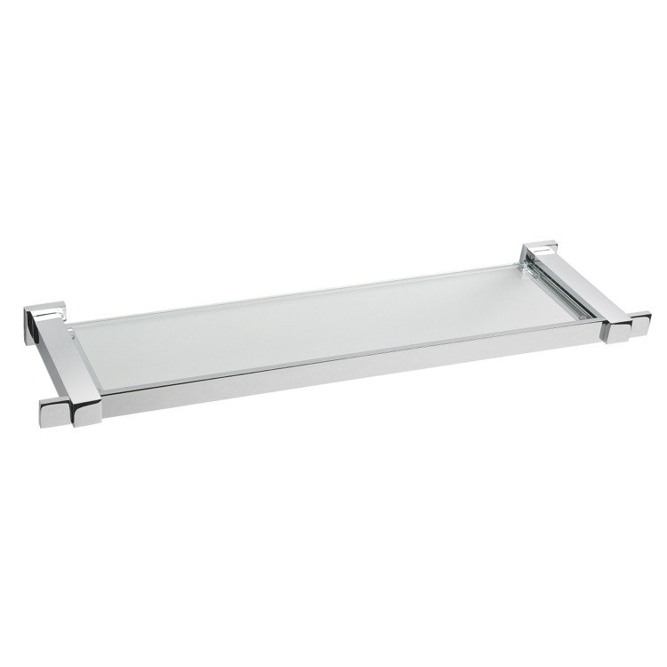 WINDISCH 85205 SQUARE 22 INCH GLASS BATHROOM SHELF WIDTH AND FINISH