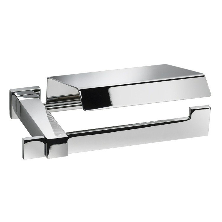 WINDISCH 85211 SQUARED BRASS TOILET ROLL HOLDER WITH COVER