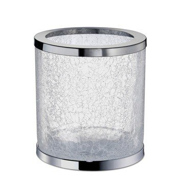 WINDISCH 89164 BATH BINS ROUND CRACKLED GLASS BATHROOM WASTE BIN