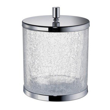 WINDISCH 89165 BATH BINS ROUND CRACKLED GLASS BATHROOM WASTE BIN WITH COVER