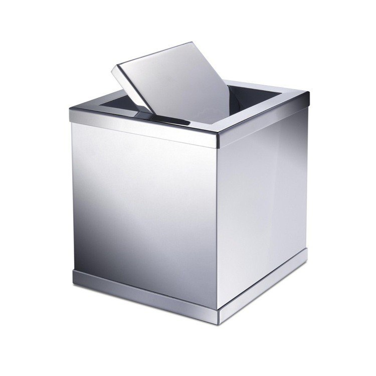WINDISCH 89181 ACCESSORIES BRASS SQUARE MINI WASTE BIN WITH SWIVEL LID