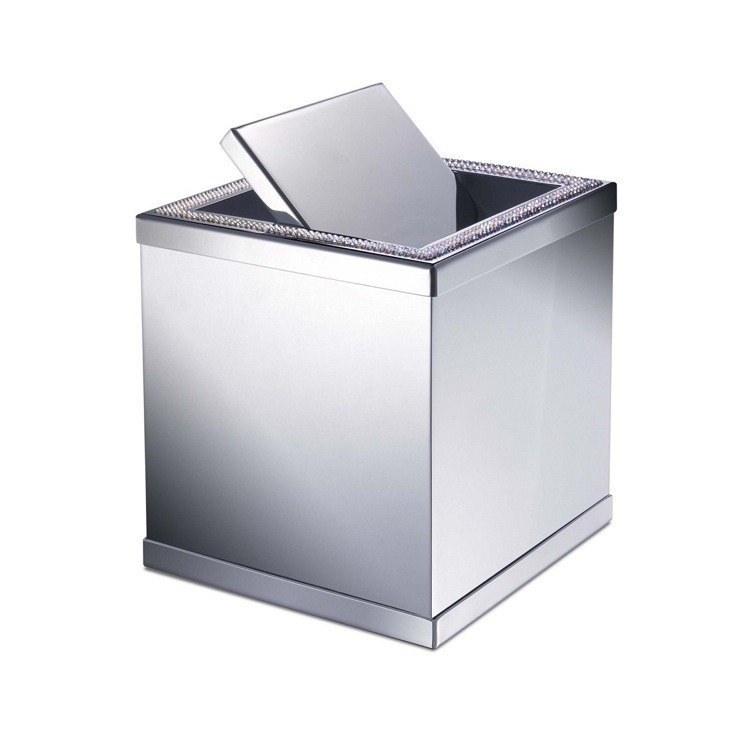 WINDISCH 89191 ACCESSORIES BRASS SQUARE MINI WASTE BIN WITH SWIVEL LID AND SHINE LIGHT