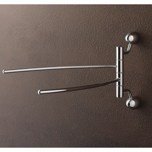 TOSCANALUCE 9019 BIS MARINA 12 INCH CHROME DOUBLE SWIVEL TOWEL BAR WITH TWO WALL MOUNTS