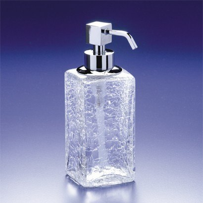 WINDISCH 90412 BOX SQUARED CRACKLED CRYSTAL GLASS SOAP DISPENSER