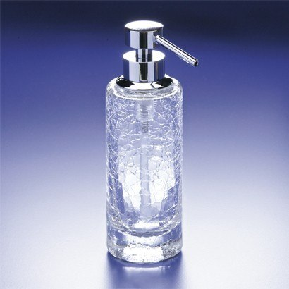 WINDISCH 90414 ADDITION CRACKLED ROUNDED TALL CRACKLED CRYSTAL GLASS SOAP DISPENSER