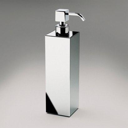 WINDISCH 90418 BOX METAL TALL SQUARED BRASS COUNTERTOP SOAP DISPENSER