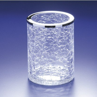 WINDISCH 91126 ADDITION CRACKLED ROUND CRACKLED GLASS TOOTHBRUSH HOLDER