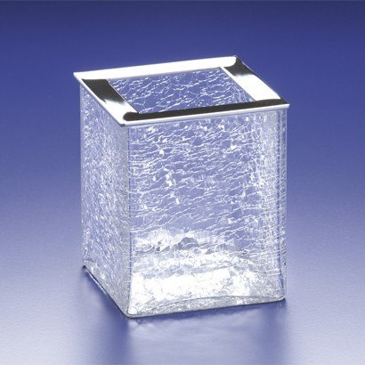 WINDISCH 91129 BOX CRACKLED SQUARE CRACKLED CRYSTAL GLASS TOOTHBRUSH HOLDER
