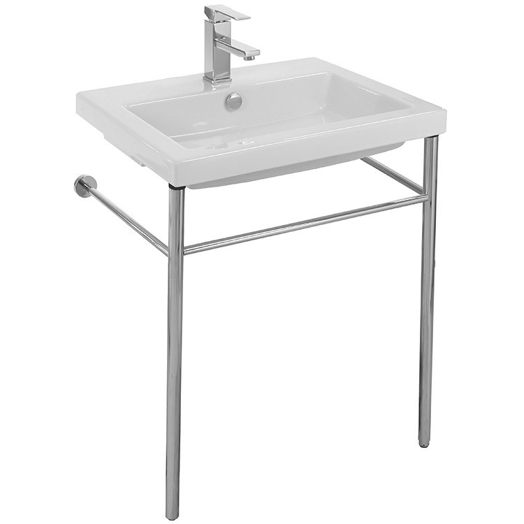Tecla CAN01011-CON Cangas Rectangular Ceramic Console Sink and Polished Chrome Stand