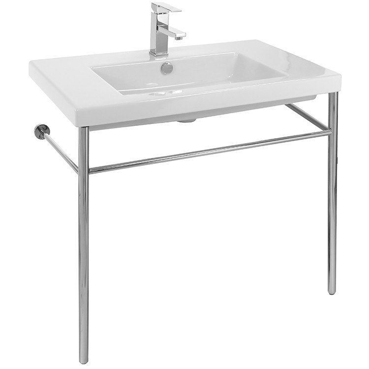 Tecla CAN02011-CON Cangas Rectangular Ceramic Console Sink and Polished Chrome Stand