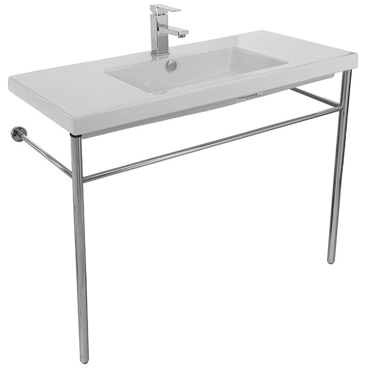 Tecla CAN03011-CON Cangas Rectangular Ceramic Console Sink and Polished Chrome Stand