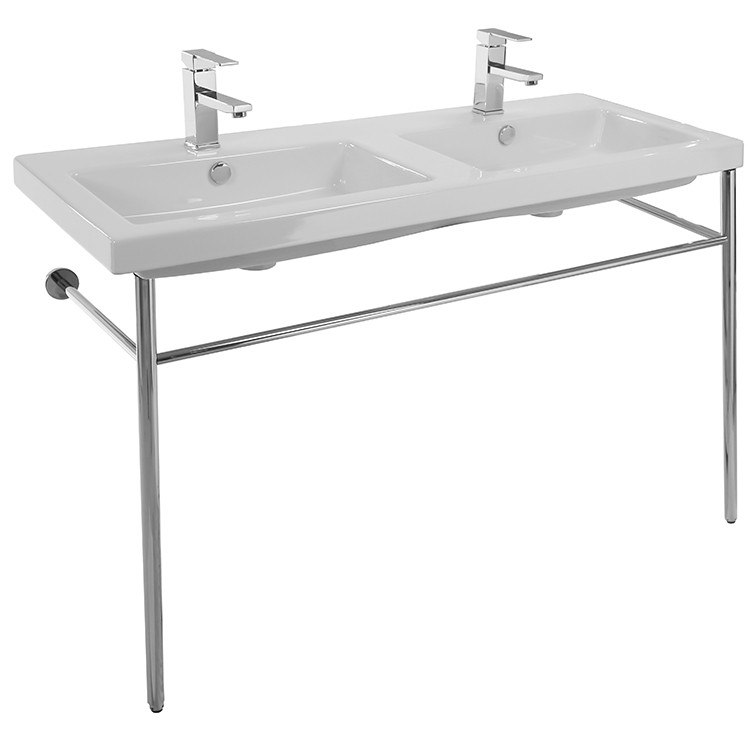 Tecla CAN04011-CON Cangas Double Basin Ceramic Console Sink and Polished Chrome Stand