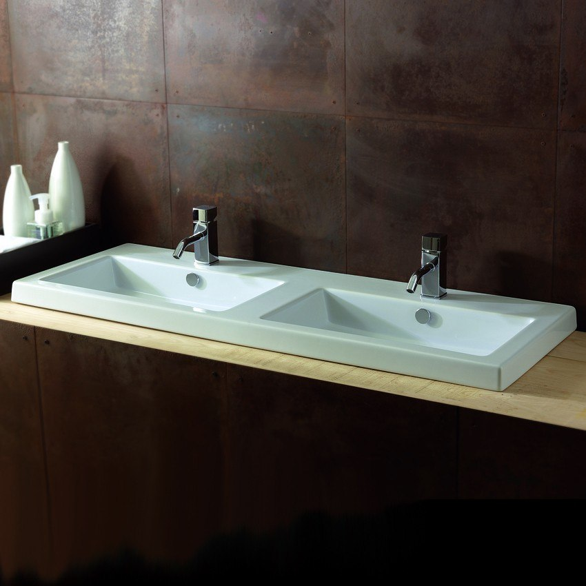 Tecla CAN04011 Cangas 47 x 18 Inch Rectangular White Double Ceramic Wall Mounted or Built-In Sink