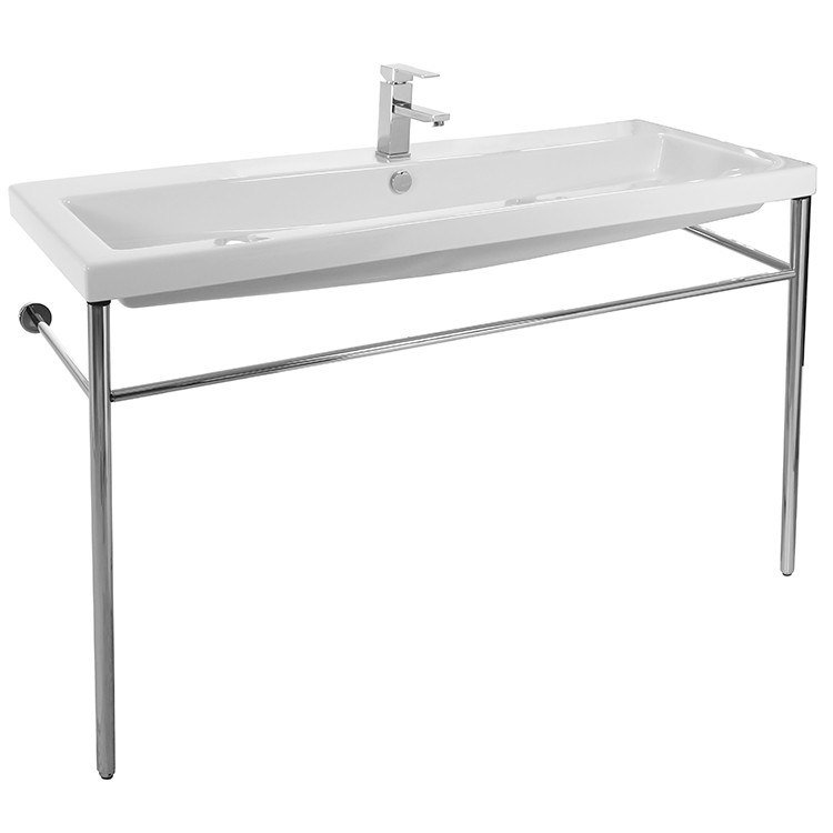 Tecla CAN05011A-CON Cangas Large Rectangular Ceramic Console Sink and Polished Chrome Stand