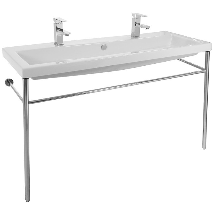 Tecla CAN05011B-CON Cangas Large Double Ceramic Console Sink and Polished Chrome Stand