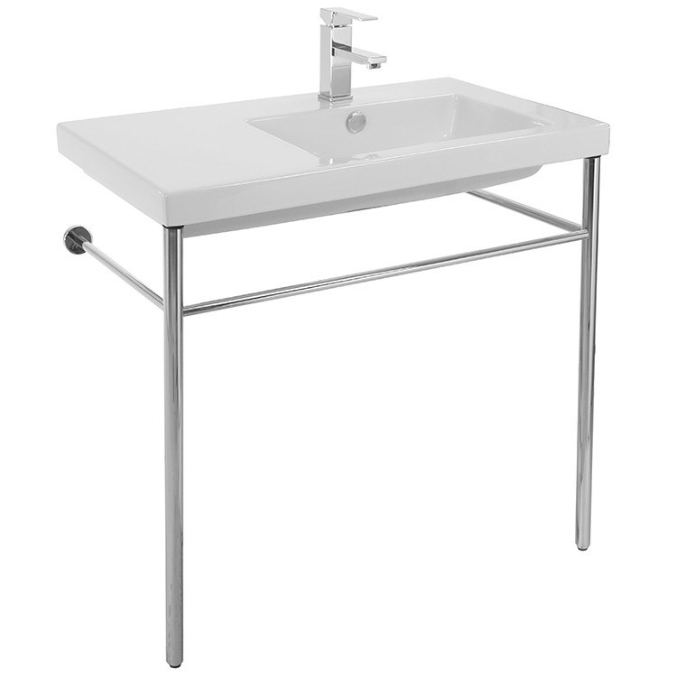 Tecla CO01011-CON Condal Rectangular Ceramic Console Sink and Polished Chrome Stand