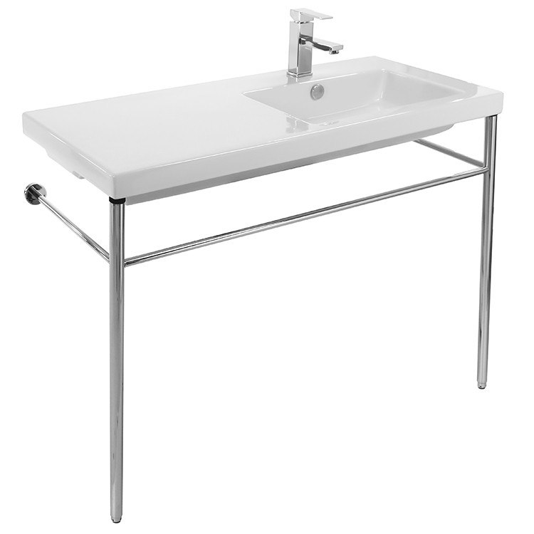 Tecla CO02011-CON Condal Rectangular Ceramic Console Sink and Polished Chrome Stand