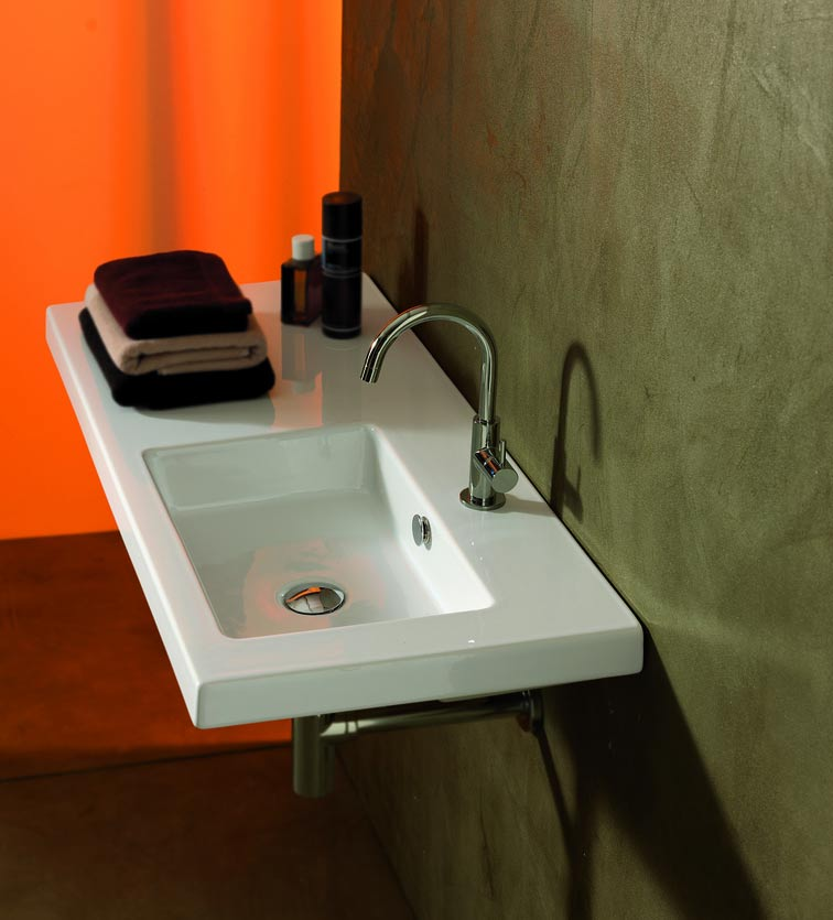 Tecla CO02011 Condal 39 x 18 Inch Rectangular White Ceramic Wall Mounted or Built-In Sink