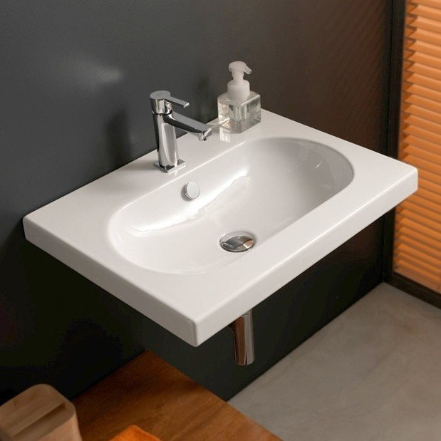 Tecla EDW1011 Edo Wide 24 x 18 Inch Rectangular White Ceramic Wall Mounted or Built-In Sink