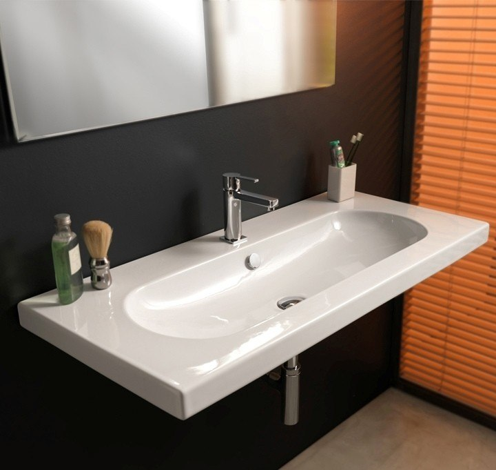 Tecla EDW3011 Edo Wide 40 x 18 Inch Rectangular White Ceramic Wall Mounted or Built-In Sink