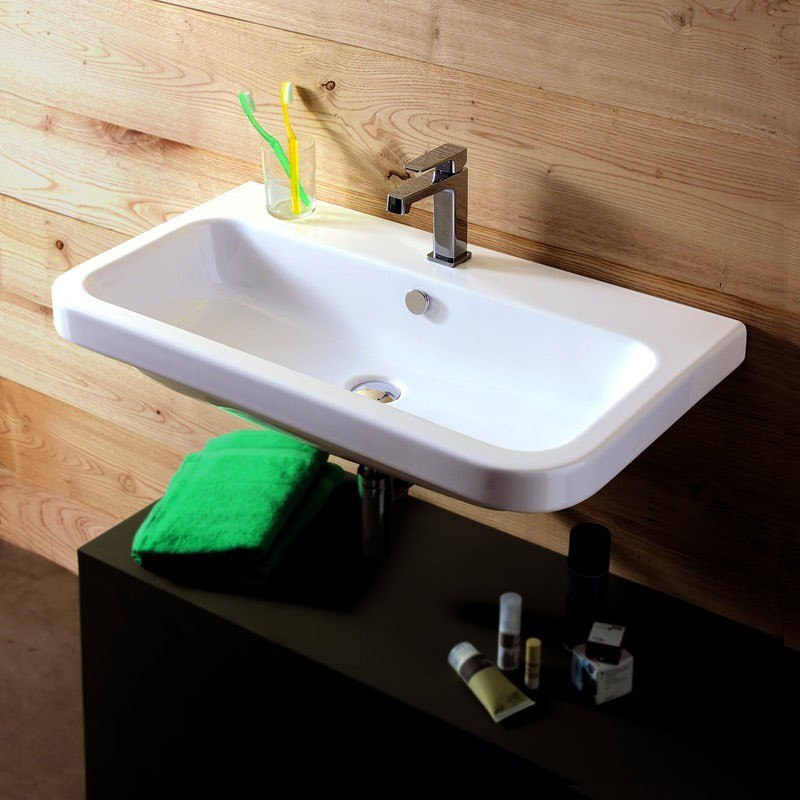 Tecla EL02011 Electra 32 x 18 Inch Rectangular White Ceramic Wall Mounted or Built-In Sink