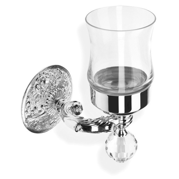 STILHAUS NT10V NOTO CRISTALLO CRYSTAL GLASS WALL MOUNTED TOOTHBRUSH HOLDER/TUMBLER