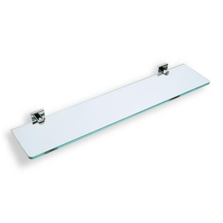 STILHAUS U04 URANIA 24 X 5 INCH CLEAR GLASS BATHROOM SHELF WITH BRASS HOLDER