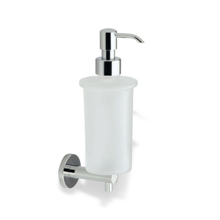 STILHAUS VE30 VENUS WALL MOUNTED FROSTED GLASS SOAP DISPENSER WITH BRASS MOUNTING