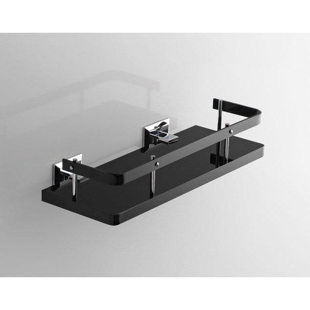 TOSCANALUCE G211 GRIP PLEXIGLASS 13 INCH BATHROOM SHELF WITH RAIL AND CHROME WALL MOUNTS