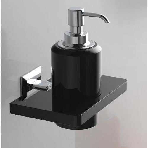 TOSCANALUCE G223 GRIP PLEXIGLASS SOAP DISPENSER WITH CHROME WALL MOUNT