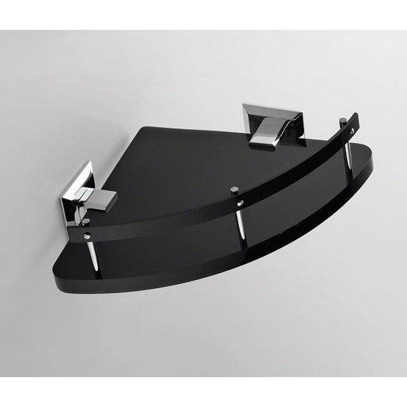 TOSCANALUCE G231 GRIP 9 INCH TRIANGULAR PLEXIGLASS CORNER BATHROOM SHELF WITH CHROME MOUNTS