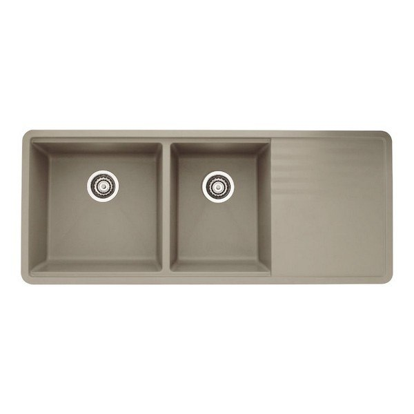 Blanco 441292 Precis Granite 48 Inch Kitchen Sink with Drainer in Truffle