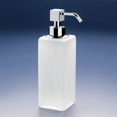 WINDISCH 90412M BOX FROZEN SQUARED TALL FROSTED CRYSTAL GLASS SOAP DISPENSER