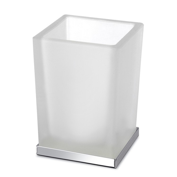 WINDISCH 94125CR COMPLEMENTS FROSTED GLASS BATHROOM TUMBLER WITH CHROME