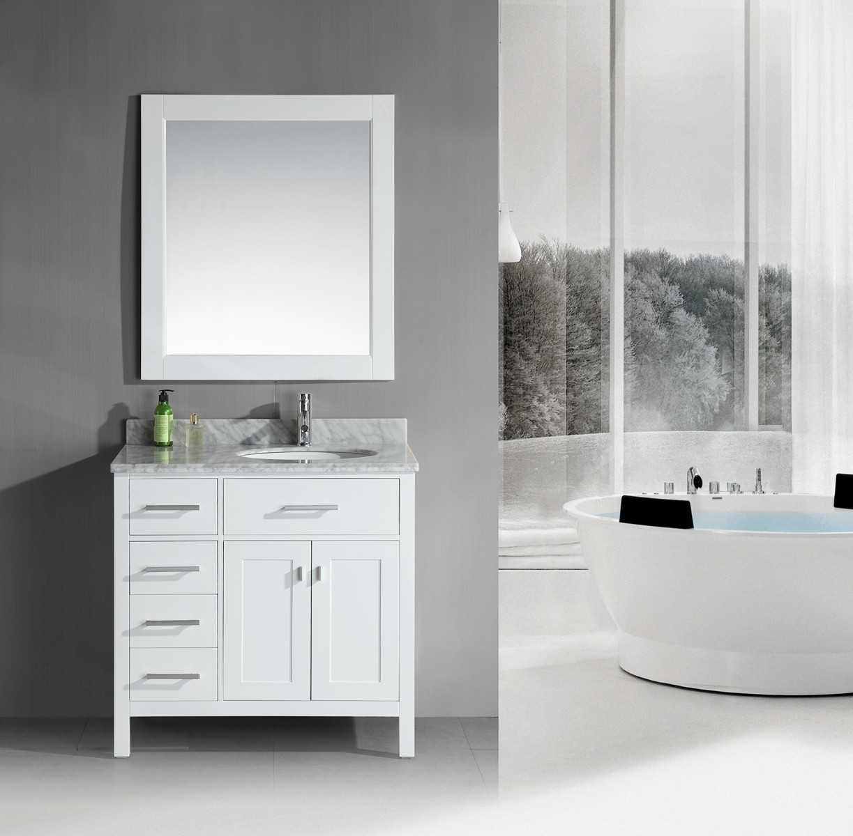 Design Element Dec076d W L London 36 Inch Single Sink Vanity Set In White Finish With Drawers