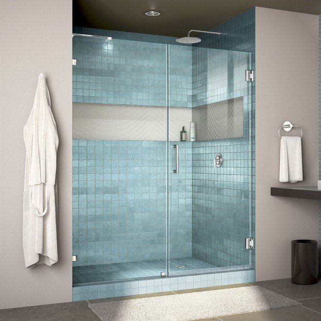 DREAMLINE SHDR-23567200 UNIDOOR LUX 56 W X 72 H FULLY FRAMELESS HINGED SHOWER DOOR WITH L-BAR