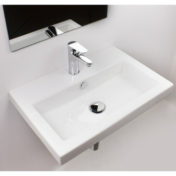 TECLA 4001011 SERIE 40 24 X 16 INCH RECTANGULAR WHITE CERAMIC SELF RIMMING OR WALL MOUNTED BATHROOM SINK