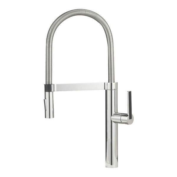 Blanco 441332 Culina Pull-Out, Swivel Single Hole Kitchen Faucet in Satin Nickel