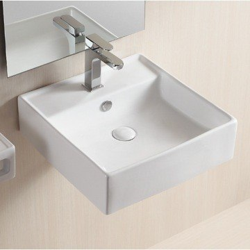 Caracalla CA4032-One Hole Ceramica Ii 18 Inch Square White Ceramic Wall Mounted or Vessel Bathroom Sink